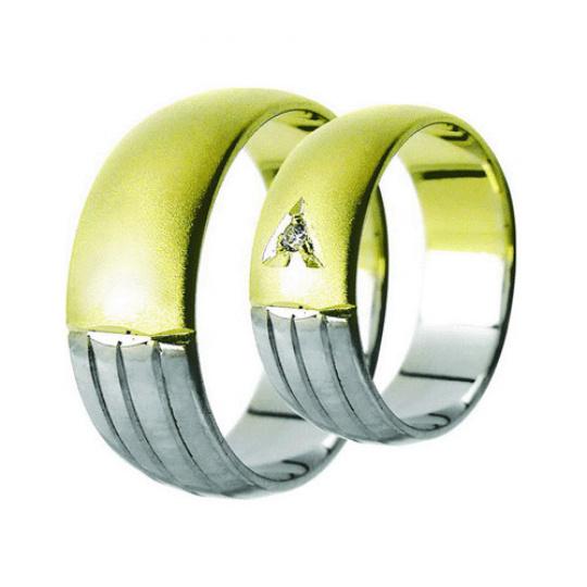 Snubní prsteny Lucie Gold Charlotte S-167, materiál bílé, žluté zlato 585/1000, zirkon, váha: průměr