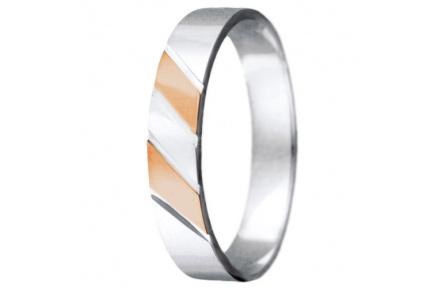 Snubní prsteny kolekce VIOLA_10, materiál červené, bílé zlato 585/1000, váha: u velikosti 54mm - 3.0