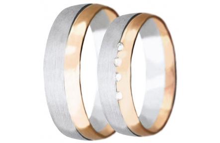 Snubní prsteny kolekce VIOLA_6, materiál červené, bílé zlato 585/1000, zirkon, váha: u velikosti 54m