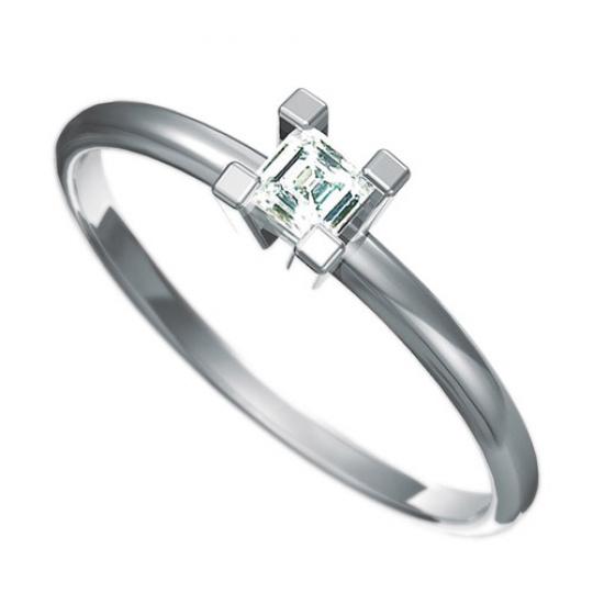 Zásnubní prsten s briliantem Dianka 801, materiál bílé zlato 585/1000, briliant SI1/G 3x3mm, váha: u