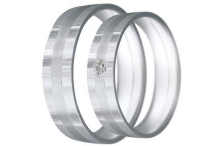 Snubní prsteny kolekce CLAUDIA19, materiál bílé zlato 585/1000, zirkon, váha: u velikosti 54mm - 6.5