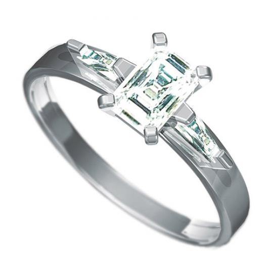 Zásnubní prsten Dianka 803, materiál bílé zlato 585/1000, 1 x zirkon 6x4mm, 2 x zirkon 4x2mm, váha:
