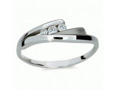 Briliantový prsten Danfil DF1750, materiál bílé zlato 585/1000, 3x briliant SI1/G = 0.100 ct, váha: