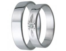 Snubní prsteny kolekce D17, materiál bílé zlato 585/1000, zirkon , váha: u velikosti 54mm - 3.00g