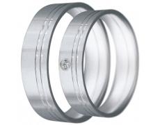 Snubní prsteny kolekce CLAUDIA17, materiál bílé zlato 585/1000, zirkon, váha: u velikosti 54mm - 6.5