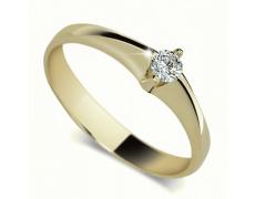 Briliantový prsten Danfil DF1956Z, materiál žluté zlato 585/1000, 1x briliant SI1/G = 0.115 ct, váha