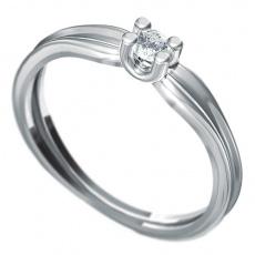Zásnubní prsten s briliantem Dianka 811, materiál bílé zlato 585/1000, briliant SI1/G 3.00mm, váha: