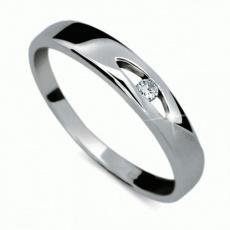 Briliantový prsten Danfil DF1281, materiál bílé zlato 585/1000, 1x briliant SI1/G = 0.025 ct, váha: