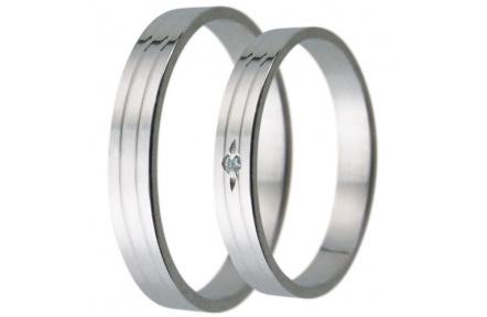 Snubní prsteny kolekce D30, materiál bílé zlato 585/1000, zirkon , váha: u velikosti 54mm - 2.40g