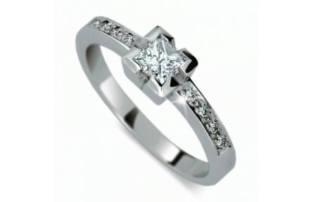 Briliantový prsten Danfil DF1645, materiál bílé zlato 585/1000, 9x briliant VS/G= 0.513 ct, váha: 3.