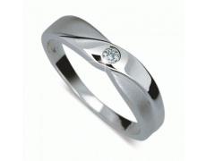Briliantový prsten Danfil DF1760, materiál bílé zlato 585/1000, 1x briliant SI1/G = 0.031 ct, váha: