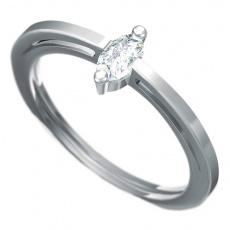 Zásnubní prsten s briliantem Dianka 809, materiál bílé zlato 585/1000, briliant SI1/G 5x3mm, váha: u