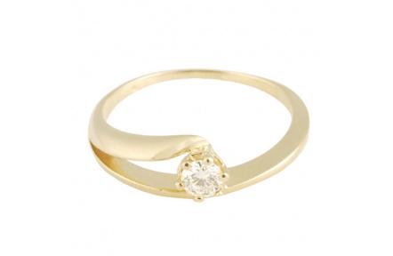 Zlatý Prsten Soliter 224 40875 00, materiál žluté zlato 585/1000, 1x briliant = 0.12 ct, váha: 1.75g