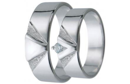 Snubní prsteny kolekce D4, materiál bílé zlato 585/1000, zirkon , váha: u velikosti 54mm - 4.30g
