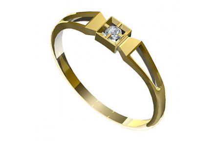 Zásnubní prsten s briliantem Leonka  006, materiál žluté zlato  585/1000, briliant SI1/G - 2.25mm, v