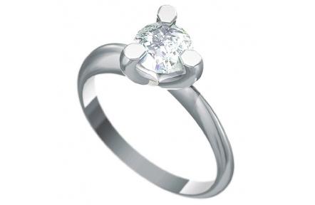 Zásnubní prsten s briliantem Dianka 817, materiál bílé zlato 585/1000, briliant SI1/G 6.00mm, váha:
