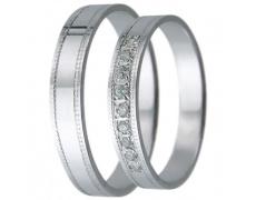 Snubní prsteny kolekce D28, materiál bílé zlato 585/1000, zirkon , váha: u velikosti 54mm - 2.40g