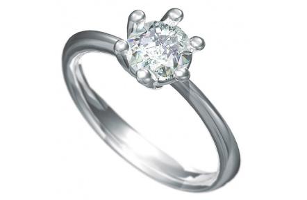 Zásnubní prsten s briliantem Dianka 805, materiál bílé zlato 585/1000, briliant SI1/G 6.00 mm, váha: