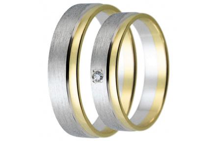 Snubní prsteny kolekce HARMONY19, materiál bílé, žluté zlato 585/1000, zirkon, váha: u velikosti 54m