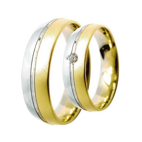 Snubní prsteny Lucie Gold Charlotte S_075, materiál bílé , žluté zlato 585/1000, zirkon, váha: průmě
