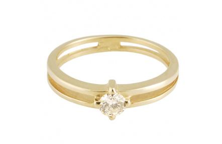 Zlatý Prsten Soliter 224 00849 10, materiál žluté zlato 585/1000, 1x briliant = 0.16 ct, váha: 1.60g