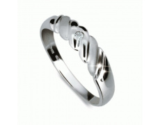 Briliantový prsten Danfil DF1207, materiál bílé zlato 585/1000, 1x briliant SI1/G = 0.016 ct, váha: