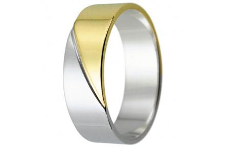 Snubní prsteny kolekce HARMONY15, materiál bílé, žluté zlato 585/1000, váha: u velikosti 54mm - 4.60