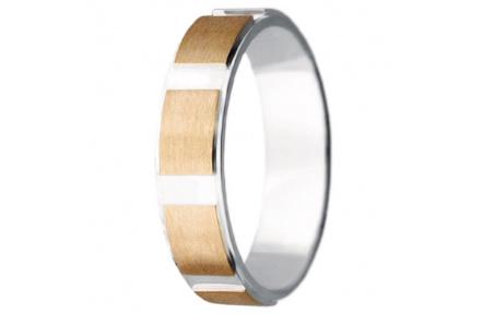 Snubní prsteny kolekce VIOLA_13, materiál červené, bílé zlato 585/1000, váha: u velikosti 54mm - 4.2