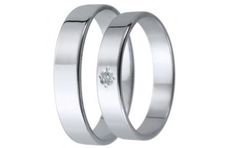 Snubní prsteny kolekce D20, materiál bílé zlato 585/1000, zirkon , váha: u velikosti 54mm - 3.00g
