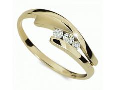 Briliantový prsten Danfil DF1750Z, materiál žluté zlato 585/1000, 3x briliant SI1/G = 0.100 ct, váha