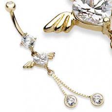 Zlatý piercing ZPP034, materiál 14-ti karátové žluté zlato, zirkon, váha: 1.93g