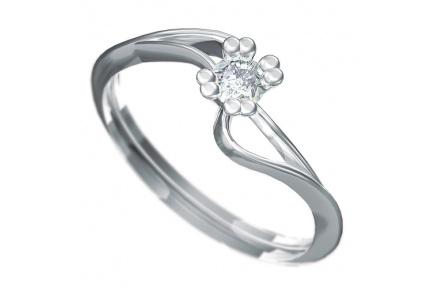 Zásnubní prsten s briliantem Dianka 804, materiál bílé zlato 585/1000, briliant SI1/G 3.5mm, váha: u