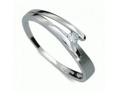 Briliantový prsten Danfil DF1716, materiál bílé zlato 585/1000, 1x briliant SI1/G = 0.060 ct, váha: