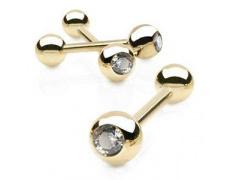 Zlatý piercing ZPJ002, materiál 14-ti karátové žluté zlato, zirkon, váha: 1.38g