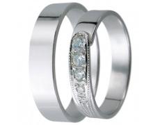 Snubní prsteny kolekce D15, materiál bílé zlato 585/1000, zirkon , váha: u velikosti 54mm - 3.00g