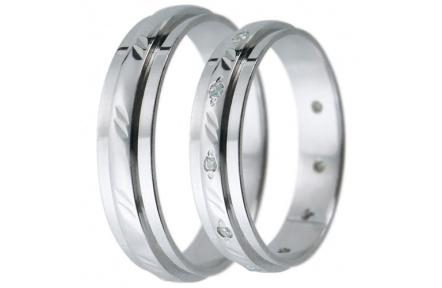 Snubní prsteny kolekce D6, materiál bílé zlato 585/1000, zirkon , váha: u velikosti 54mm - 3.50g