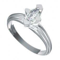 Zásnubní prsten s briliantem Dianka 818, materiál bílé zlato 585/1000, briliant SI1/G 8x4mm, váha: u