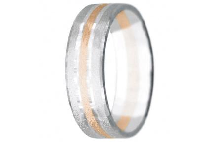 Snubní prsteny kolekce VIOLA_4, materiál červené, bílé zlato 585/1000, váha: u velikosti 54mm - 4.60