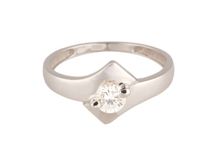 Zlatý Prsten Soliter 224 00837 07, materiál bílé zlato 585/1000, 1x briliant = 0.379 ct, váha: 2.40g