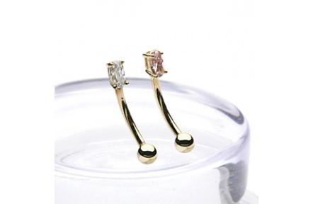Zlatý piercing ZPO001, materiál 14-ti karátové žluté zlato, zirkon, váha: 0.42g