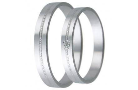 Snubní prstýnky - kolekce D23, materiál bílé zlato 585/1000, zirkon , váha: u velikosti 54mm - 2.40g