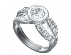 Zásnubní prsten Dianka 815, materiál bílé zlato 585/1000, 1 x zirkon 6.0mm, 16 x zirkon 1.75mm, 2 x